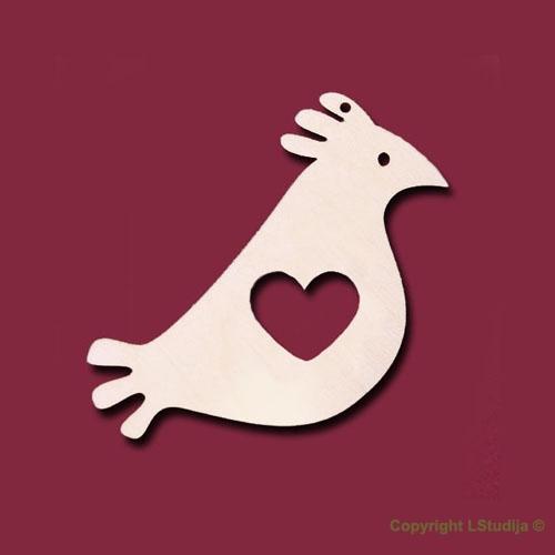 Mediniai auskarai paukščiukas su širdute