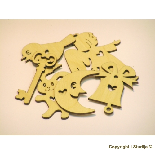 Wooden decoration kit 6 pcs 5 pcs for the price!