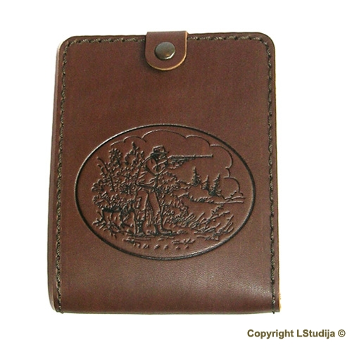 Natural leather hunter document wallet shooter