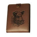 Natural leather hunter document wallet boar