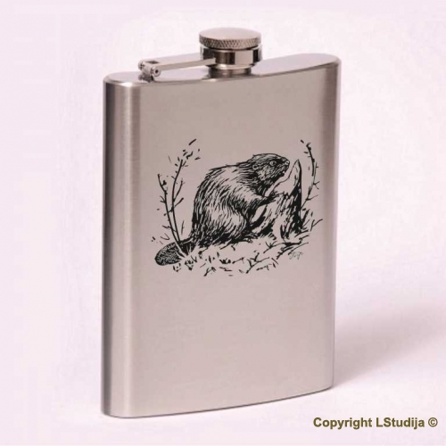 Classic 8oz flask beaver