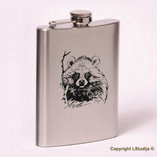 Classic 8oz flask Raccoon dog