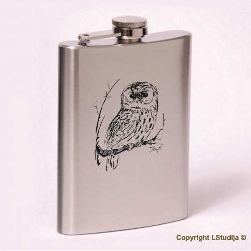 Classic 8oz flask owl