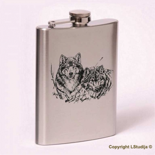 Classic 8oz flask  wolves