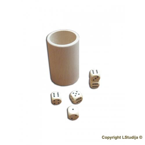 Puodelis ( Ø 53x80 mm) ir 5 kauliukai