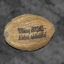 "Laser engraved coconut ""Our boss - a tough nut"""